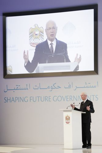 Klaus Schwab - WEF - addresses third annual Government Summit 2015 - UAE (PRNewsFoto/The Government Summit)