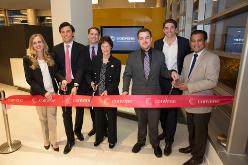 Convene celebrates the opening of its first conference center outside NYC at 1800 Tysons Blvd in Virginia. On hand to cut the ribbon were (l. to r.) Bonnie Pulise, managing director of tenant services, Lerner Enterprises; Christopher Kelly, president and co-founder, Convene; Mike Collins, outreach director for Congressman Gerry Connolly, U.S. House of Representatives; Chairwoman Sharon Bulova of Fairfax County Board of Supervisors; Gil Rolon, general manager, Convene at Tysons II; Ryan Simonetti, CEO and co-founder, Convene; Joe Montano, ...