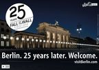"""25th anniversary of the Fall of the Berlin Wall - wall.visitBerlin.com; Photo: Lichtgrenze_Brandenburger-Tor_c_Kulturprojekte Berlin_GmbH_Foto_WHITEvoid_Christopher Bauder. Editorial use of this picture is free of charge. Please quote the source: """"obs/visitBerlin / Christopher Bauder"""""""