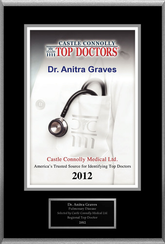 Dr. Anitra Graves is recognized by Castle Connolly as one of the Regional Top Doctors in Pulmonary