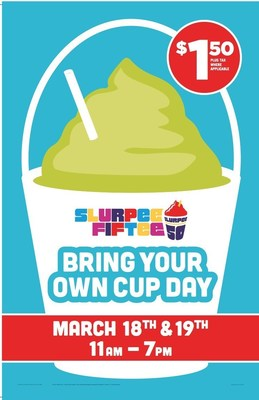 7-Eleven(R) Bring Your Own Cup (#BYOCupDay), when fans can bring just about anything resembling a cup to fill it with a Slurpee(R) drink is Friday, March 18, and Saturday, March 19.