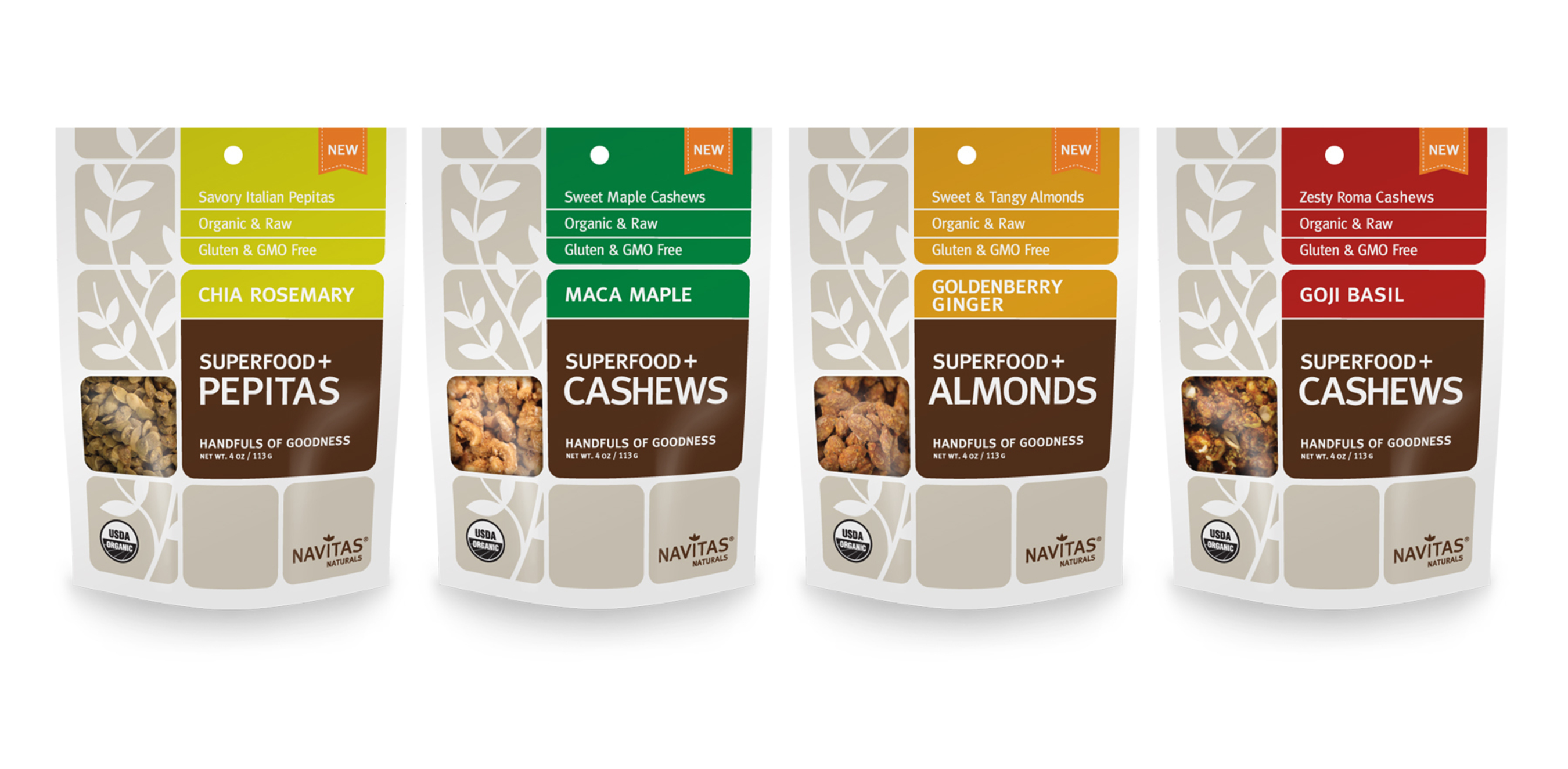 Superfood Seeds and Nuts are 4 varieties of nutrient-dense snacks from Navitas Naturals that are ideal for on-the-go lifestyles. (PRNewsFoto/Navitas Naturals)
