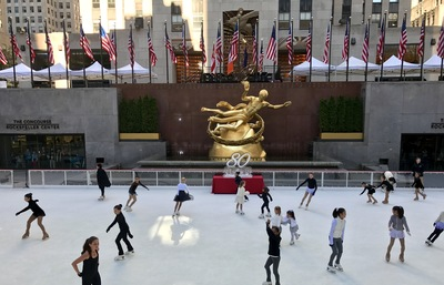 Young skaters take the ice during the official first skate at The Rink at Rockefeller Center on October 11, 2016. The Rink celebrates its 80th anniversary season this year. (Photo credit: Rick Ho)