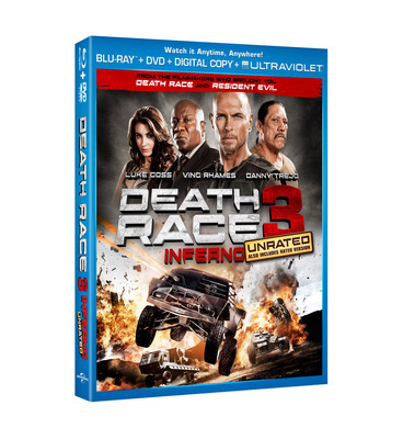Death Race 3: Inferno On Blu-Ray(TM) Combo Pack Including UltraViolet(TM), DVD & Digital Copy On January 22, 2013.  (PRNewsFoto/Universal Studios Home Entertainment)
