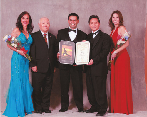 Master Marco Sies with Grandmaster Y.K. Kim at the 2013 International Martial Arts Hall of Fame Awards. (PRNewsFoto/Master Method Academy) (PRNewsFoto/MASTER METHOD ACADEMY)