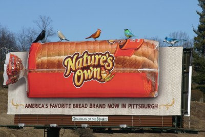 Scout's out-of-home campaign for the Nature's Own bread brand features three-foot high birds perched atop Nature's Own billboards, giving passersby a reason to look. . .and look again.