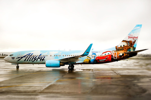 Alaska Airlines newest Disney-themed airplane features some of Disney-Pixar's most beloved characters from the movie Cars.  (PRNewsFoto/Alaska Airlines)
