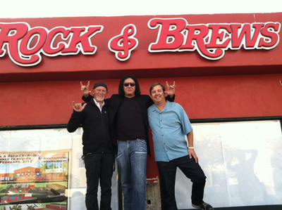 Rock & Brews partners Dave Furano, Gene Simmons and Michael Zislis celebrate the launch of their new venture.  (PRNewsFoto/Rock & Brews)