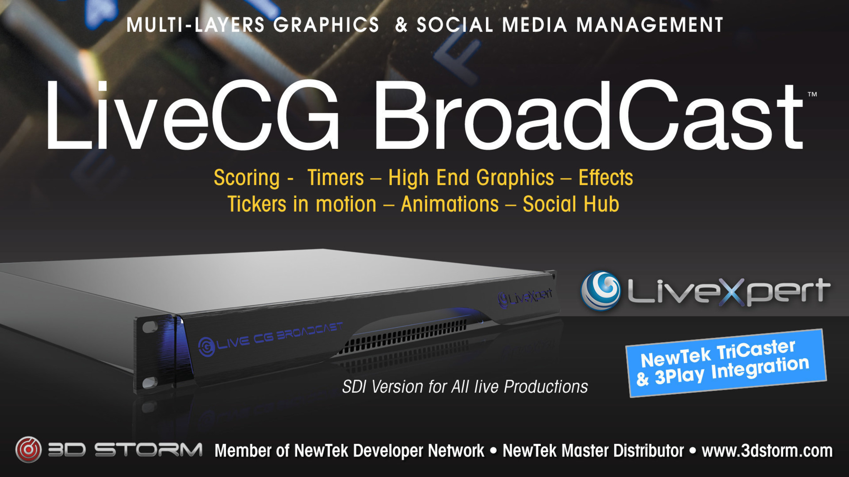 LiveCG Broadcast New Features Social Networks, Integration & Publication within Live productions