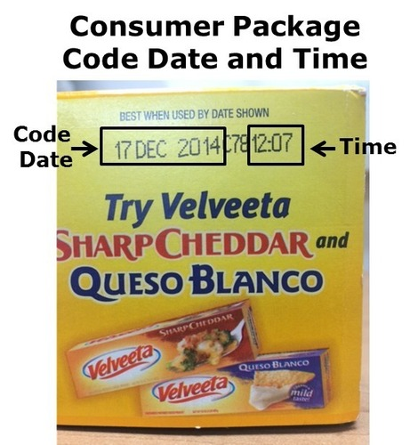 Consumer Package Code Date and Time (PRNewsFoto/Kraft Foods Group)