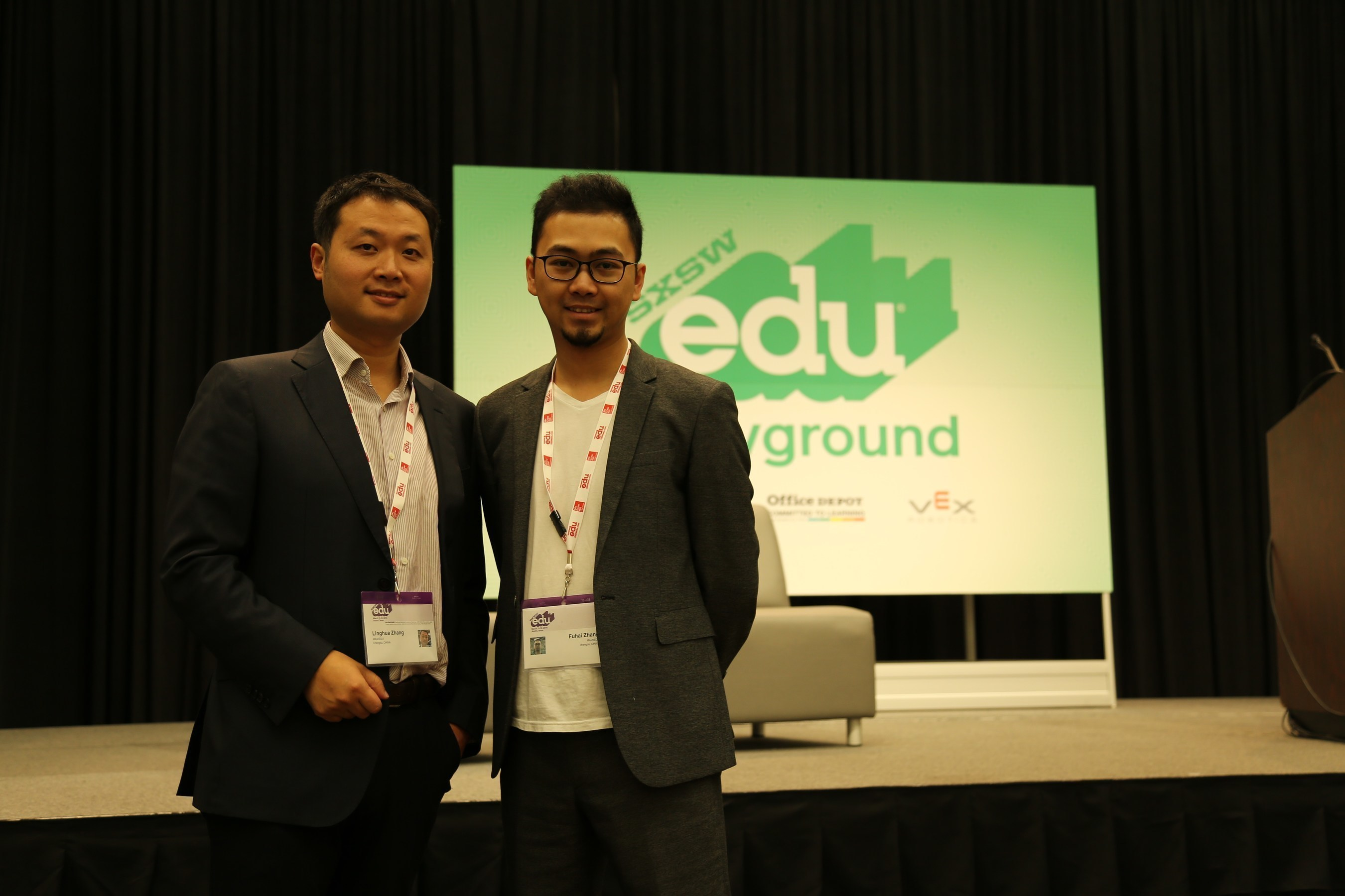 Maizi Education's founder and CEO Zhang Linghua alongside co-founder and COO Zhang Fuhai at SXSWedu