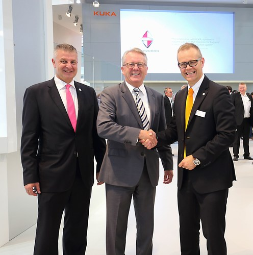 The partnership is sealed with a handshake: Tom Anliker, Vice President MSS, Ulrich Walker, CEO and Chairman of the Board of Borgward Group AG, and Stefan Lampa, CEO KUKA Roboter GmbH (PRNewsFoto/Borgward Group AG)