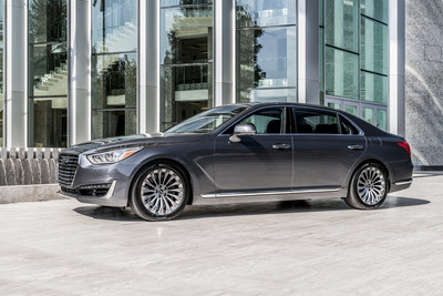 The 2017 Genesis G90 flagship sedan was honored with the Ruedas ESPN Best Luxury Sedan Award at the 2016 Miami International Auto Show.