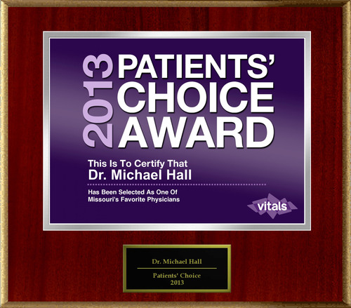 Dr. Michael Hall of Kansas City, MO Named a Patients' Choice Award Winner for 2013.  (PRNewsFoto/American ...
