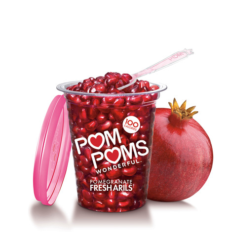 POM Wonderful, the largest producer of Wonderful variety pomegranates in the U.S., kicks off pomegranate season with the launch of their Simply Wonderful digital magazine (simplywonderful.tumblr.com) featuring all things pomegranate, including POM POMS Fresh Arils. With a resealable container, enclosed plastic spoon and only 100 calories per 4.3oz serving, POM POMS make enjoying fresh pomegranates on-the-go easier than ever.  (PRNewsFoto/POM Wonderful)