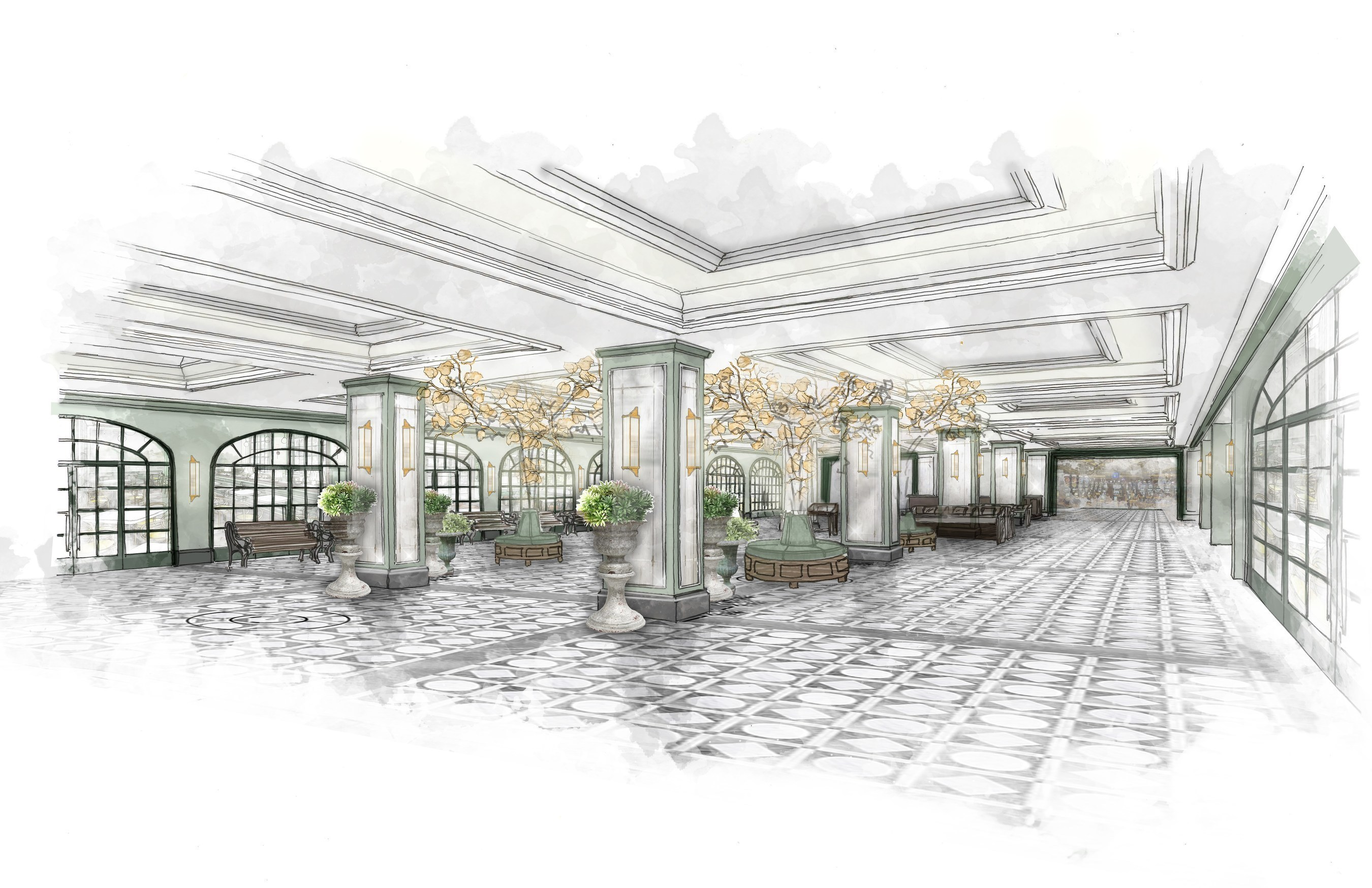 Lobby: MGM Resorts International and Sydell Group announced a partnership to reimagine Monte Carlo Resort on the famed Las Vegas Strip with two distinct hotel experiences - Park MGM and The NoMad Las Vegas. Design inspiration for Park MGM lobby pictured here.