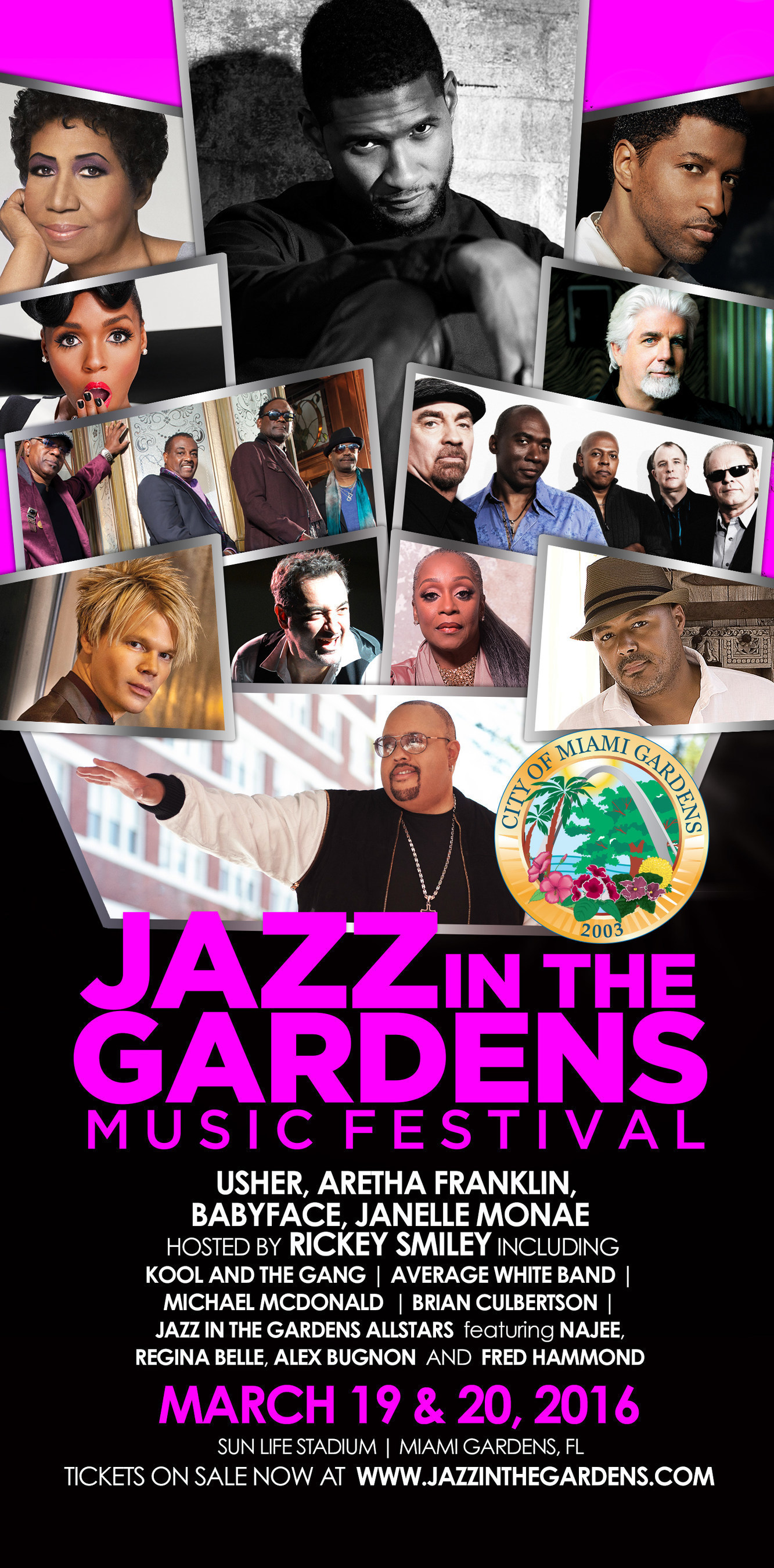 Usher And Aretha Franklin Headline The 11th Annual Jazz In The Gardens  Music Festival.