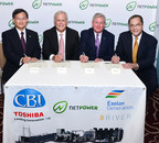 From Left to Right: Yoshihiro Aburatani, Executive Officer and Senior Vice President, Toshiba Corporation Power Systems Company; Philip Asherman, President and CEO, CB&I; Chris Crane, President and CEO, Exelon Corporation; Bill Brown, CEO, 8 Rivers Capital and NET Power.