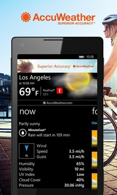 AccuWeather has launched a new version of its Weather for Life app designed for Windows Phone users. The app has several new, popular AccuWeather features, such as MinuteCast, the leading minute-by-minute precipitation forecast for a persons exact street address or GPS location. AccuWeathers Windows Phone app is the first of its mobile apps to expand MinuteCast for more locations, including Japan, Ireland, United Kingdom, Canada, and the contiguous United States.