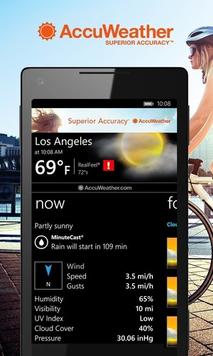 AccuWeather has launched a new version of its Weather for Life app designed for Windows Phone users. The app has several new, popular AccuWeather features, such as MinuteCast(R), the leading minute-by-minute precipitation forecast for a person's exact street address or GPS location. AccuWeather's Windows Phone app is the first of its mobile apps to expand MinuteCast for more locations, including Japan, Ireland, United Kingdom, Canada, and the contiguous United States. (PRNewsFoto/AccuWeather, Inc.)