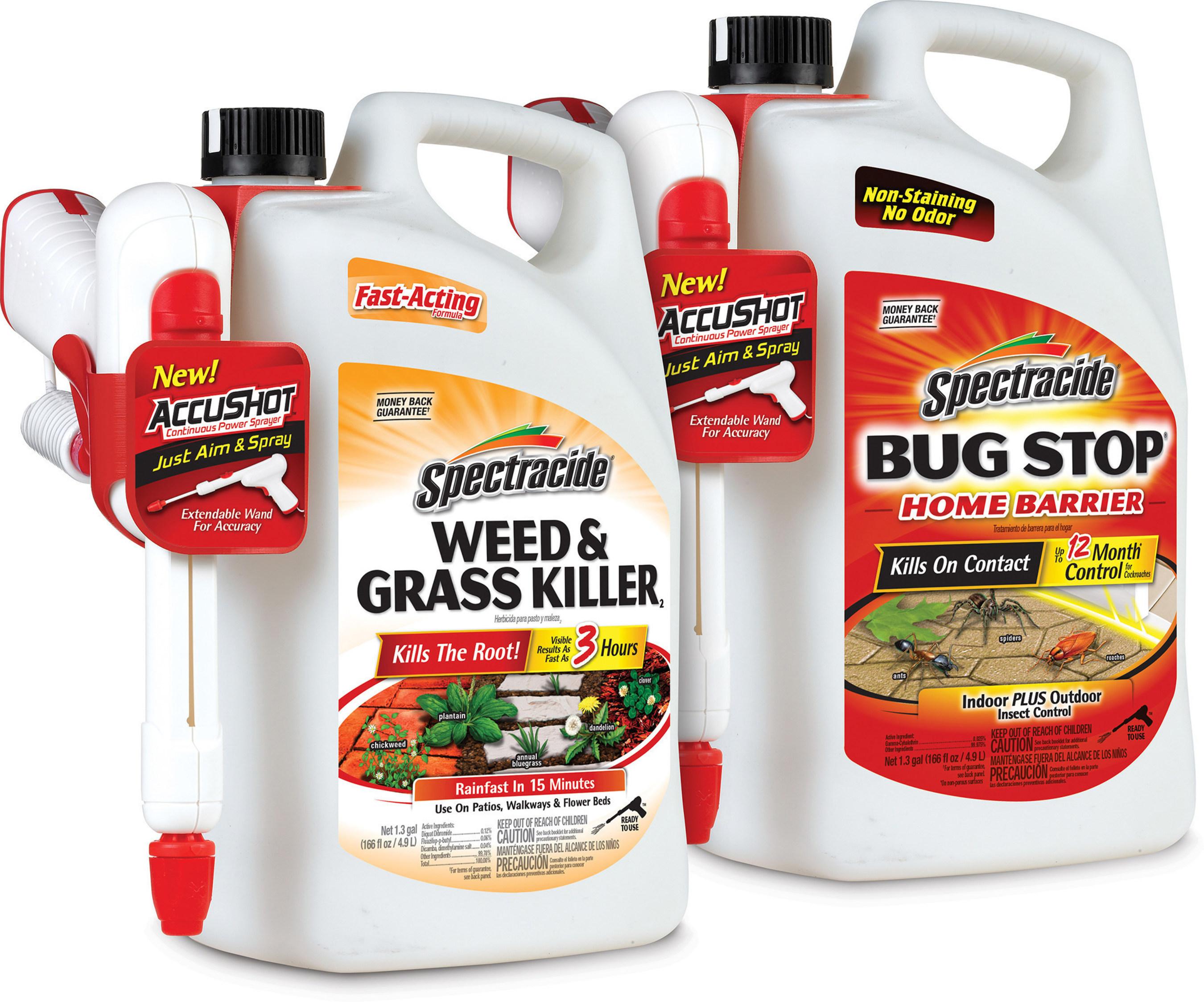 Spectracide Weed & Grass Killer AccuShot Sprayer and Spectracide Bug Stop Home Barrier AccuShot Sprayer.