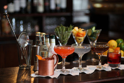 """Maggiano's brings back old school charm with new """"Handcrafted Classic Cocktails,"""" such as (from left to right): Mulo Romano, The Sicilian, Aviation, Manhattan and Negroni."""