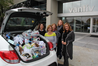 Vantiv employees collect and deliver donations for Bethany House, a United Way partner agency, as part of the VantivGives campaign.