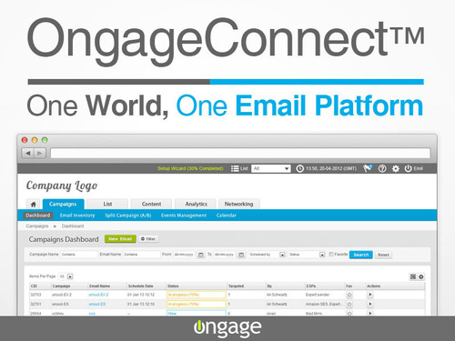 OngageConnect(TM), One World, One Email Platform. Harness the strength of multiple email service providers. Optimize email deliverability, maximize email performance and ROI. A feature rich email marketing front-end for cloud SMTP services.  (PRNewsFoto/Ongage)