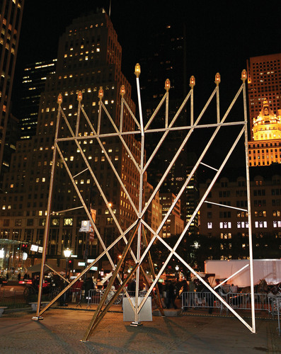 World's Largest Chanukah Menorah at Central Park, designed by Yaacov Agam, sponsored by the Lubavitch Youth Organization. Menorah is lighted every weekday evening at 5:30.  (PRNewsFoto/Jewish News Services)
