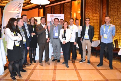 Jean Marc Perrin.  President of Technopole de l'Environnement Arbois-Mediterranee, (center), with microphone, alongside Christian Pineau (to his left), president of International Boost, address the media at a reception last week at CES introducing startups from the Aix-en-Provence region of Southwestern France.  The seven environmentally-friendly French companies were Novadem, SP3H, Aroma Therapeutics, ECHY, CustomerLabs, Genes'ink, and Optis World/Genesis, all of whom exhibited at CES.