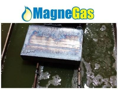 "6"" A36 Hot Roll plate cut at Elenbaas Steel Supply cutting speed 7.4 ipm normal speed 5.5 ipm. (PRNewsFoto/MagneGas Corporation)"