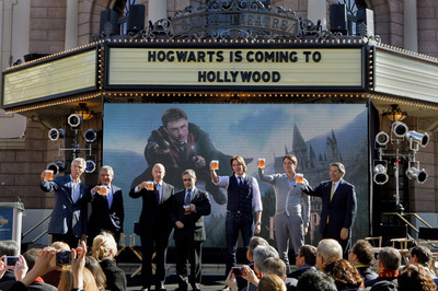 Warner Bros., Universal Parks and Resorts and honored guests celebrated today's partnership announcement to bring The Wizarding World of Harry Potter - the enormously popular themed entertainment environment which debuted in Orlando in June 2010 - to Universal Studios Hollywood, with an official Butterbeer toast. Plans to significantly expand The Wizarding World of Harry Potter at Universal Orlando Resort were also announced. Inspired by J.K. Rowling's compelling stories and characters, The Wizarding World of Harry Potter features multiple themed attractions, shops and a restaurant - all faithful to the films.  (PRNewsFoto/Universal Parks & Resorts)