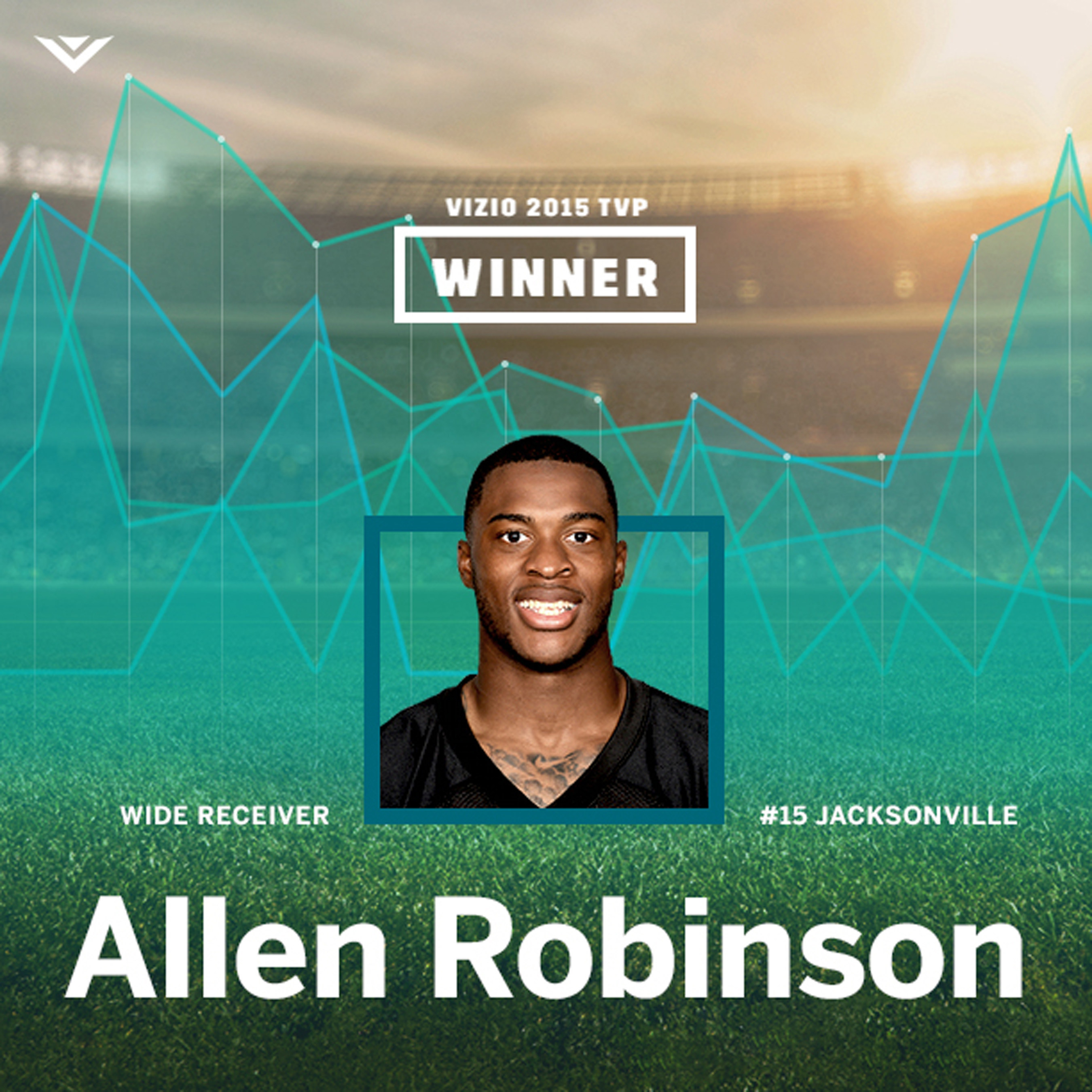 Fans Select Wide Receiver Allen Robinson As the 2015 VIZIO Top Value Performer. Robinson Earns Title Thanks to Fan Votes Recognizing A Dominant 2015 On-Field Performance