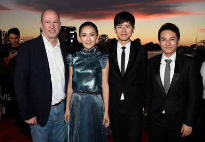 Vice Chairman of Paramount Pictures Rob Moore, Xie Na, Zhang Jie and Li Weijia attending the STAR TREK BEYOND premiere at San Diego Comic Con