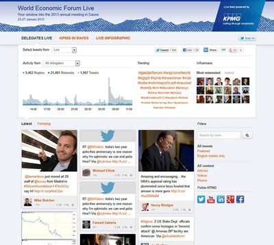 Curious to know what the world's economic leaders are saying on the ground in Davos?  Follow official delegate tweets, and filter content based on the topics that matter most to you. Login with your Twitter account and tweet, retweet, reply and follow the delegates directly from the site.