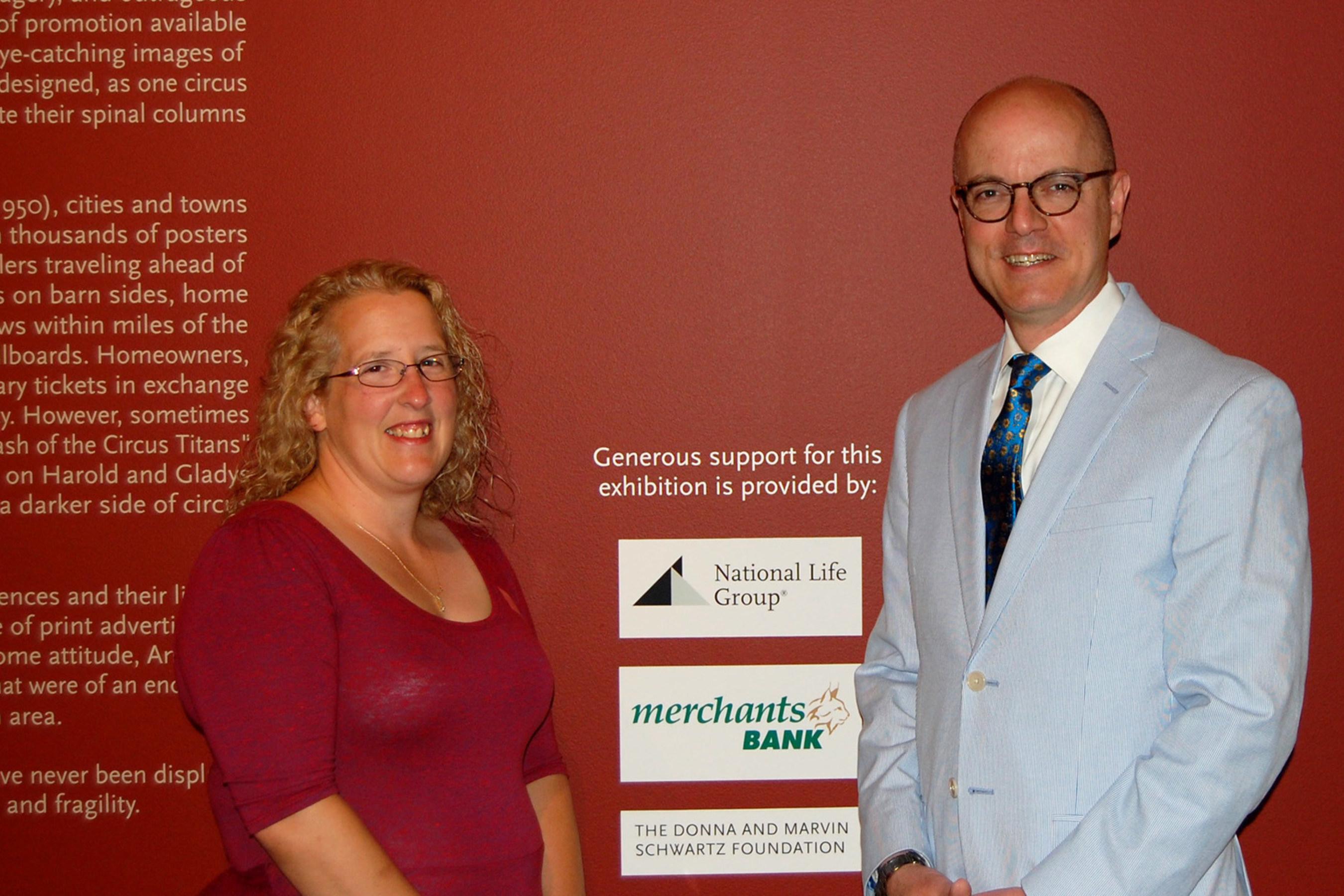 Maryann Russell, Community Banking Manager Merchants Bank; David Huntington, Development Officer, Grants and Endowments, Shelburne Museum