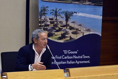 Signing Event of the Italian Egyptian Agreement for El Gouna to become the first Carbon Neutral touristic destination. In the picture: Samih Sawiris, Chairman of Orascom Holding (El Gouna) discussing El Gouna's efforts in Carbon Neutrality (PRNewsFoto/Orascom Development Holding)