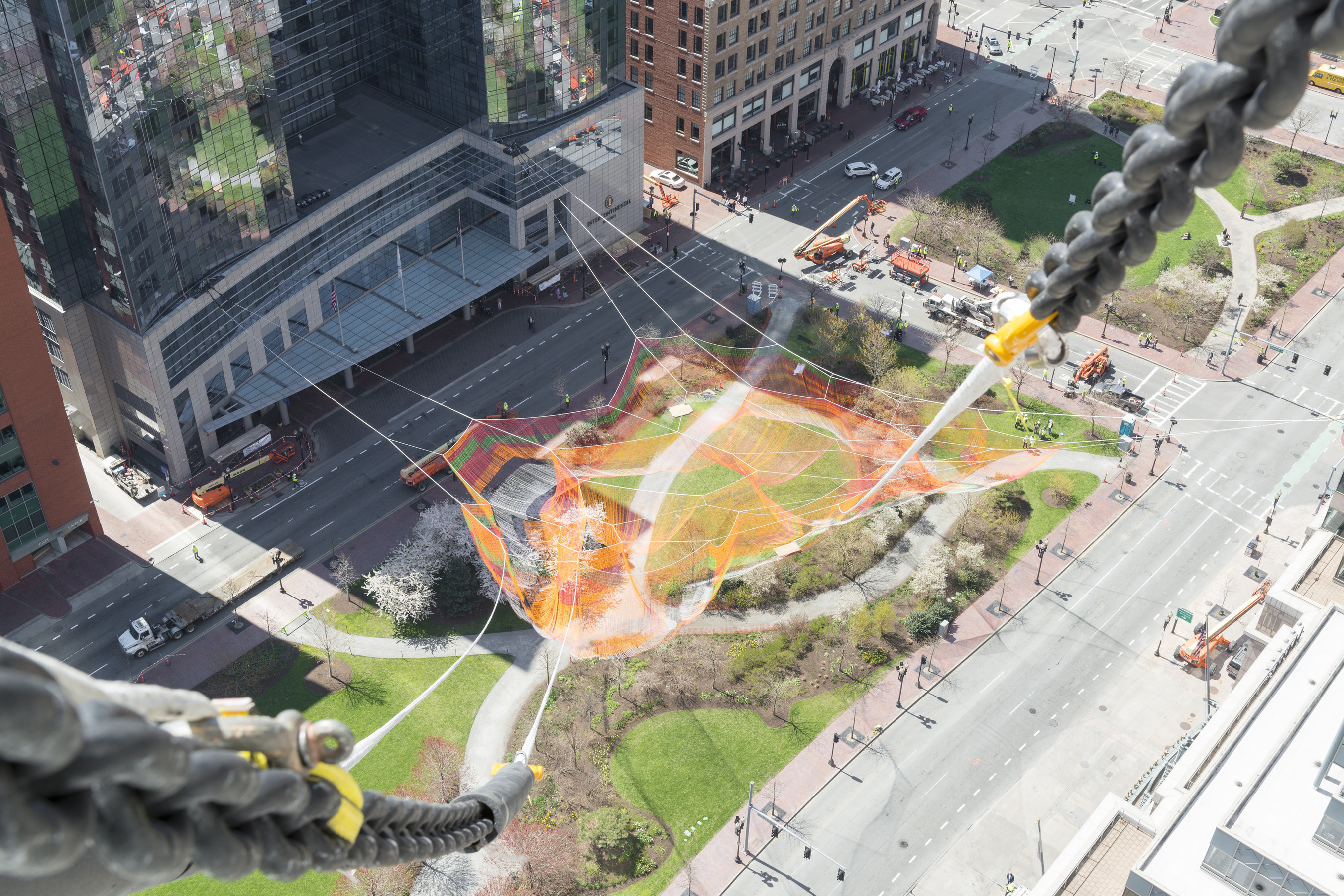 Arup Serves as Lead Engineering Designer for Echelman Sculpture Installed 365 Feet Above Boston's Rose Kennedy Greenway (Courtesy Benjamin Johnson/Shawmut Design and Construction)
