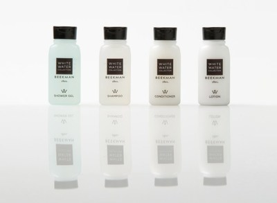 White Water Collection is a fresh and contemporary bath amenity line which combines natural ingredients such as white jasmine and flowering muguet, and is completely free of parabens, paraffin and sulfates, and is packaged in 100 percent recyclable bottles and wrappers.