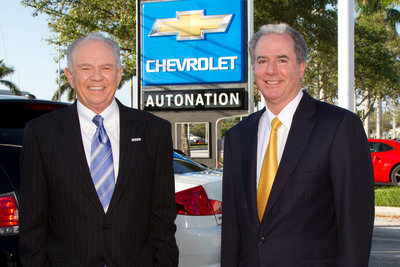 AutoNation Chairman & CEO, Mike Jackson and AutoNation COO & President, Michael Maroone at AutoNation Chevrolet of Fort Lauderdale, the first rebranded franchise of AutoNation Coast to Coast rebranding of 210 franchises. (PRNewsFoto/AutoNation, Inc.) (PRNewsFoto/AUTONATION, INC.)