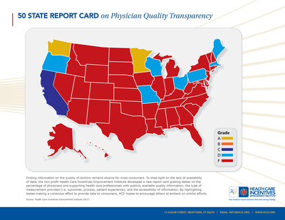 Health Care Incentives Improvement Institute state report card on availability of information for consumers on the quality of their doctors.  (PRNewsFoto/Health Care Incentives Improvement Institute (HCI3))
