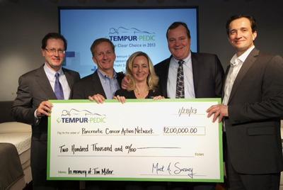 Tempur-Pedic presents $200,000 donation to Pancreatic Cancer Action Network.  (PRNewsFoto/Tempur-Pedic International Inc.)