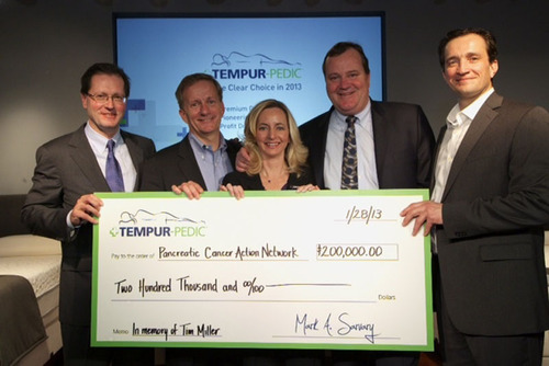 Tempur-Pedic presents $200,000 donation to Pancreatic Cancer Action Network.  (PRNewsFoto/Tempur-Pedic ...