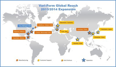 Vari-Form, the industry leader in hydroforming for automotive applications, has significantly expanded its global footprint since early 2013.