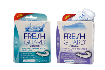 New Fresh Guard™ by Efferdent™ Soak and Wipes are specially formulated to clean removable dental devices.