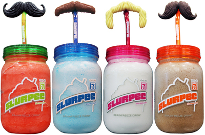7-Eleven kicks off summer Slurpee(R) fun with two news accessories. Sold separately at participating stores are four novelty mustache Slurpee straws at 99 cents each and four colorful Mason jar mugs each at $2.99. (PRNewsFoto/7-Eleven, Inc.)