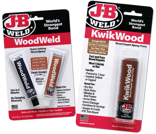 WoodWeld and KwikWood provide the world's strongest bond for use on new projects or repairing older, damaged woods. The permanent bond is much stronger than glue and once cured, it can be shaped, tapped, filed, sanded or drilled. (PRNewsFoto/J-B Weld)