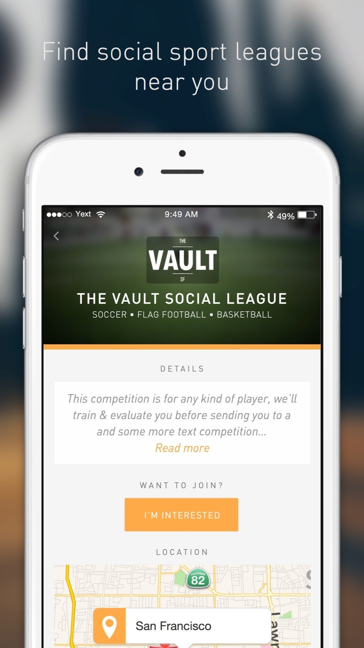 Find social sports leagues near you with Mitoo for iOS and Android