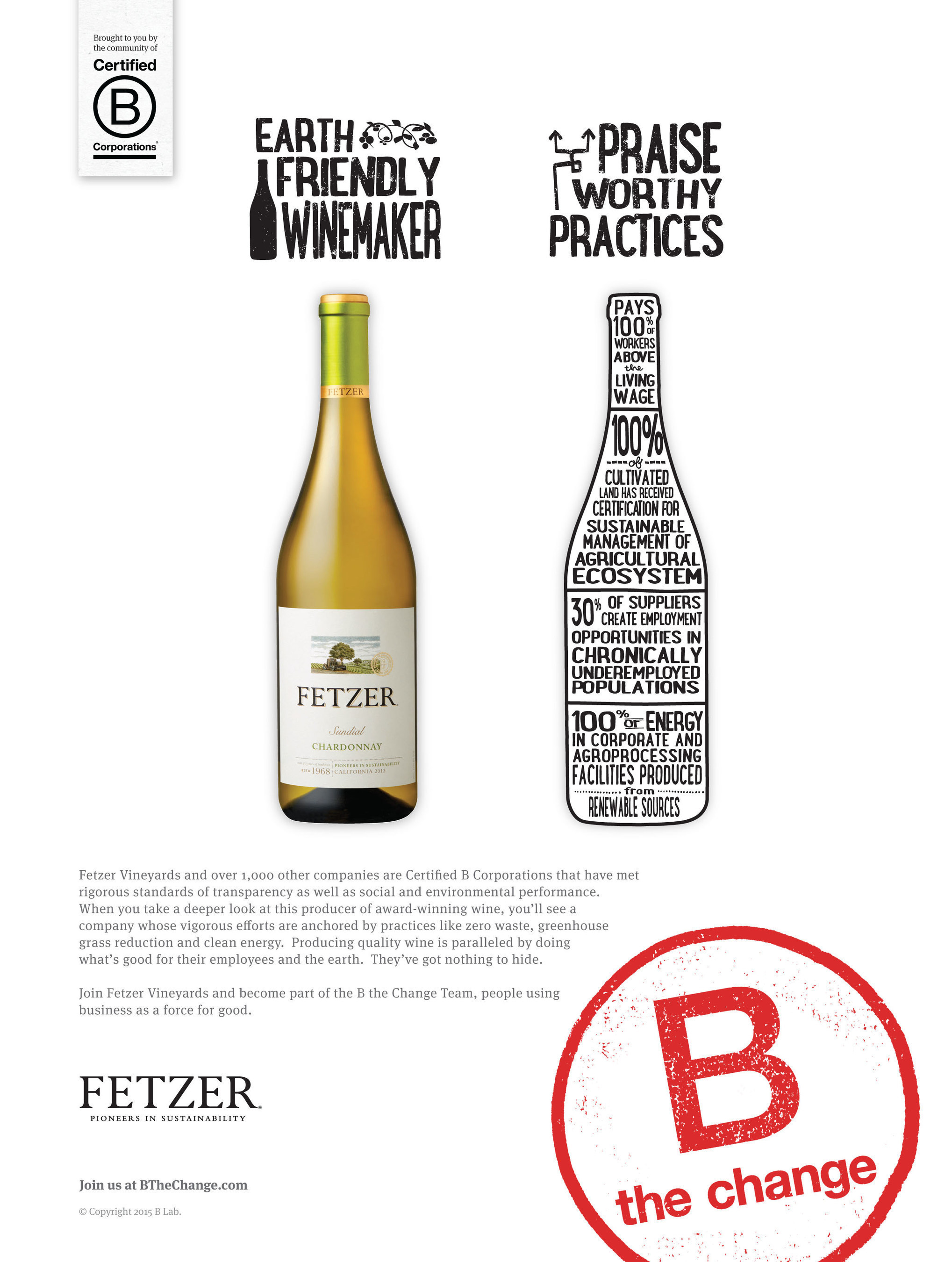 Fetzer Vineyards becomes largest winery in the world to achieve B Corp Certification