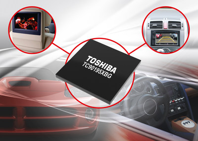 The new Toshiba TC90195XBG video processor supports high-resolution dual-screen display on automotive LCD panels.